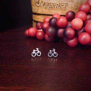 Silver plated bicycle stud earrings